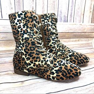 Forever 21 leopard print combat Boots Size 6.5